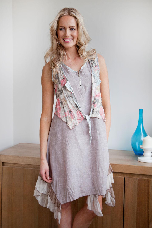 2 in 1 Peach Floral Dress